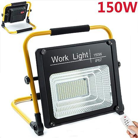 80W LED Baustrahler USB Aufladen Baustelle Strahler 5000 Mah Eingebauter Akku Bauscheinwerfer Mit Fernbedienung Arbeitsleuchte Werkstatt IP67 Wasserdicht