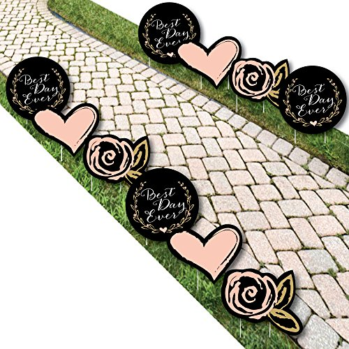 Best Day Ever - Heart and Flower Lawn Decorations - Outdoor Bridal Shower or Birthday Party Yard Decorations - 10 -