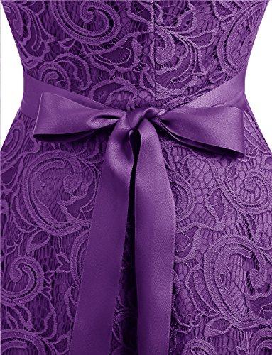 Fiesta Corto Elegante Sin para Mujer Mangas Encaje De Dama Dressystar Honor Flor Vestido Purple a5fqR