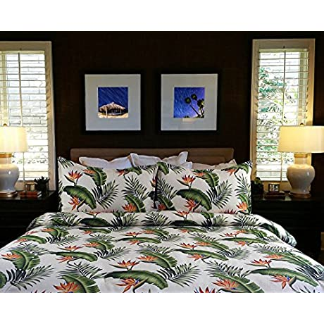 Hawaiian Beddings King Bedspread Cream Birds Of Paradise