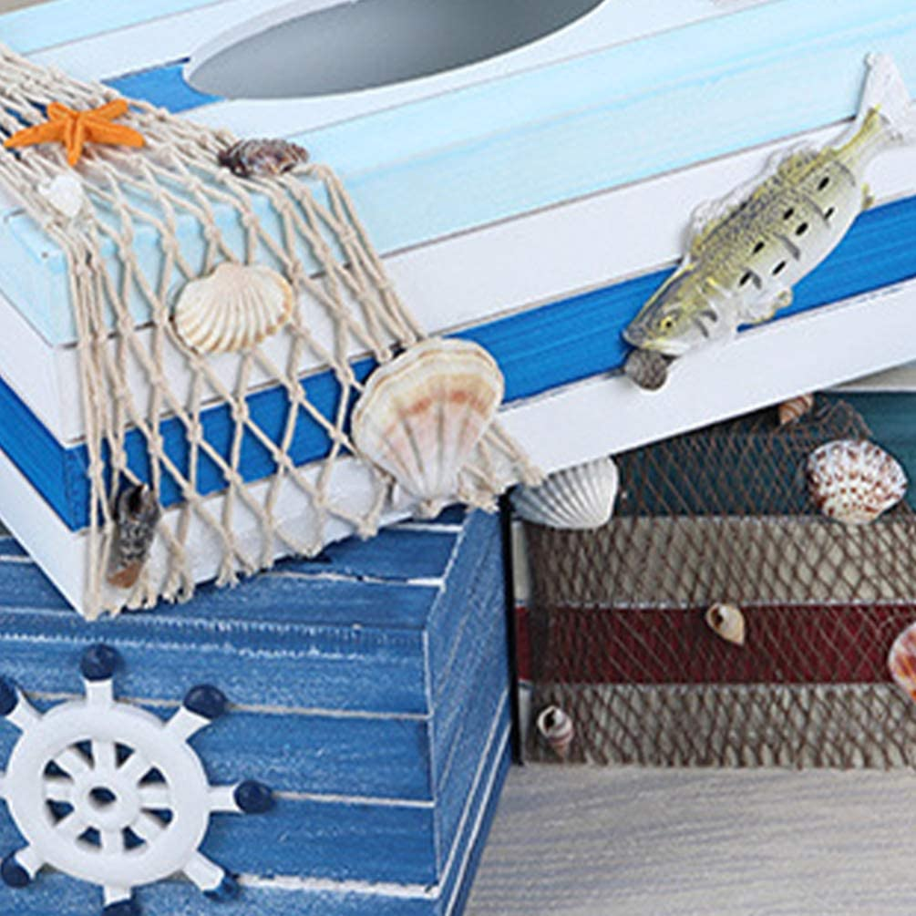 TOPBATHY Wood Tissue Box Cover Facial Tissue Holders Mediterranean Tissue Box Coastal Beach Nautical Home Table Decorations Ornaments