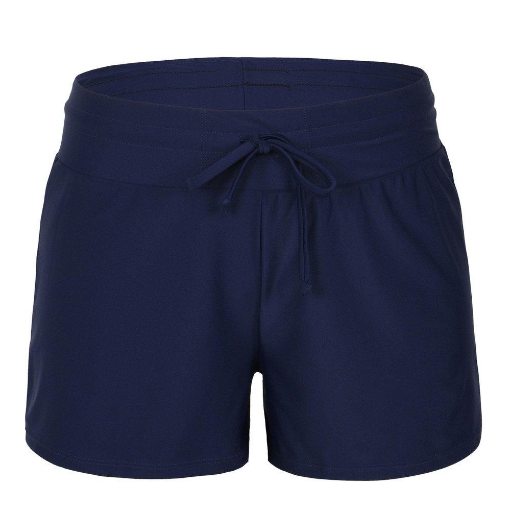 Hilor Women's Boy Leg Swim Bottom UPF 50+ Board Shorts Boyshorts Swim Shorts Tankini Bottom Navy 10