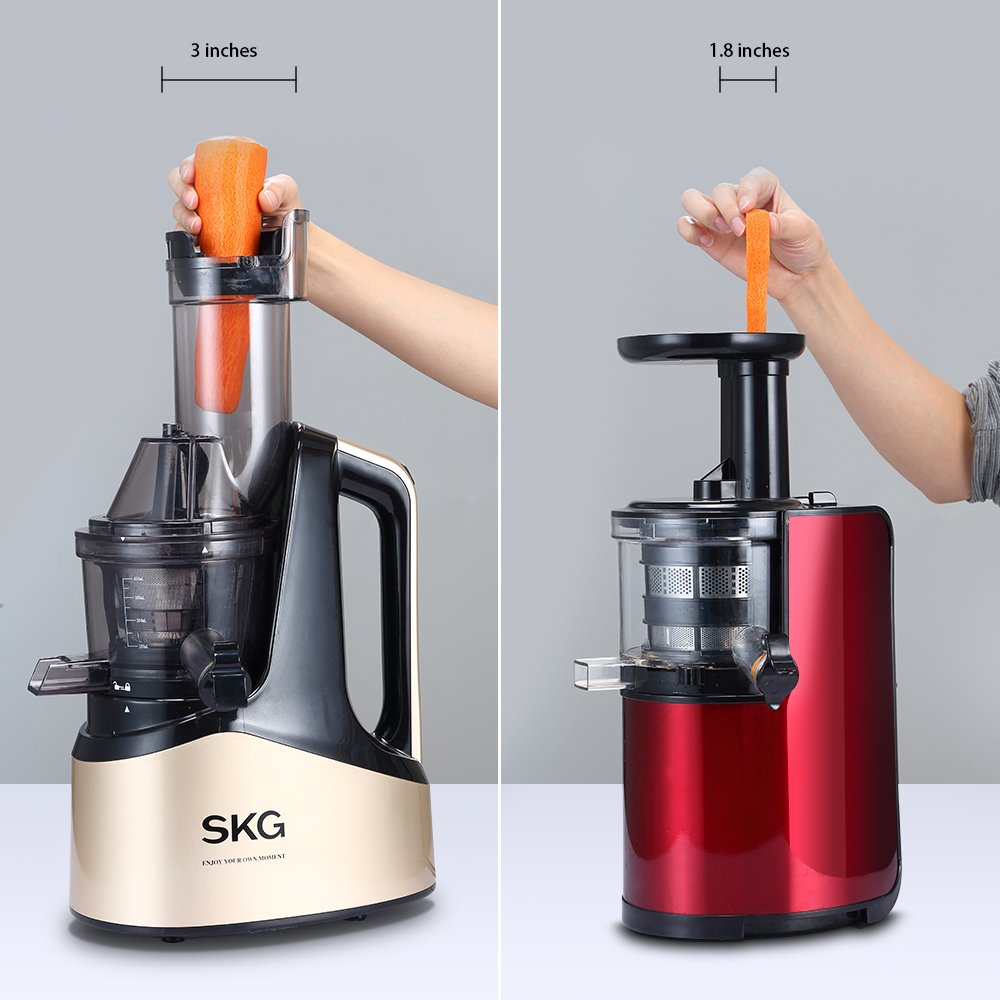 SKG Slow Masticating Juicer Extractor with Wide Chute (240W AC Motor, 43 RPMs, 3'' Big Mouth) Anti-Oxidation Lower Noisy - Vertical Masticating Cold Press Juicer-Champagne by SKG (Image #3)