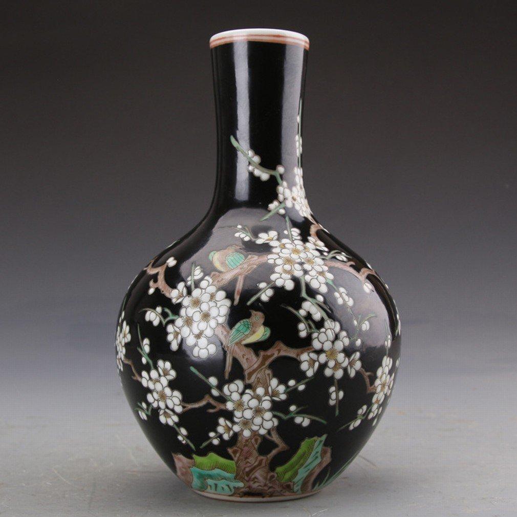 Ornements en Porcelaine Ancienne Antique Collection D'Antiquités Kangxi Pastel Porcelaine Noir Pies Et Bouteilles