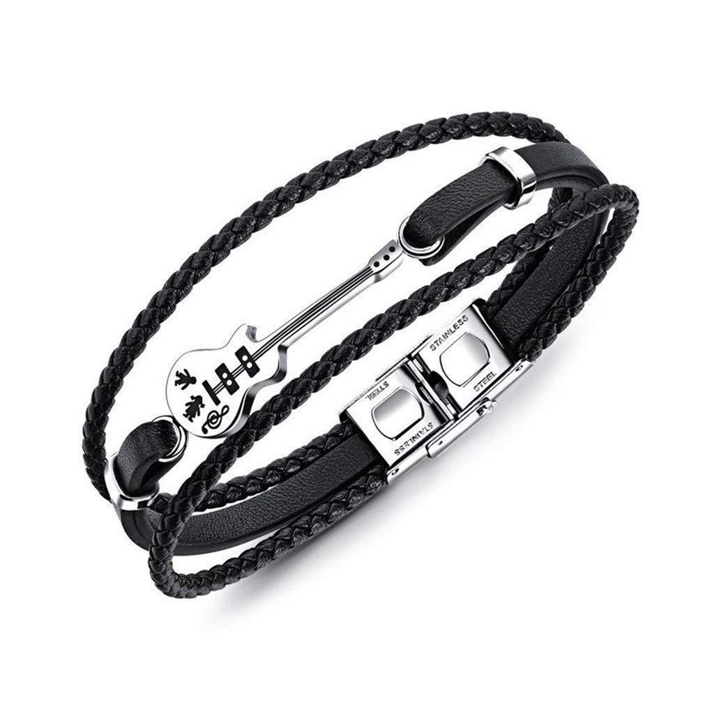 Jlbuay Men's Guitar Multilayer Leather Bracelet, Vintage Woven Leather Bracelet, Stainless Steel Foldable Clasp Black perimeter 21cm ju-0001-com