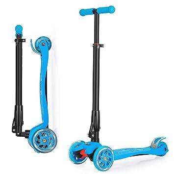 Wellewelle Patinete de 3 Ruedas con Diseño Scooter para Niños de 2 a 12 Años de Edad + Rodillera (Azul)