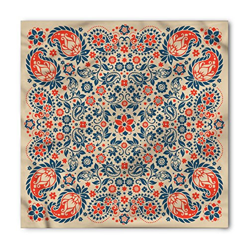 Paisley Bandana by Ambesonne, Arabesque Floral Ornate Pattern Cultural Folk Persian Middle Eastern, Printed Unisex Bandana Head and Neck Tie Scarf Headband, 22 X 22 Inches, Orange Night Blue Tan (Paisley Tan Bandana)