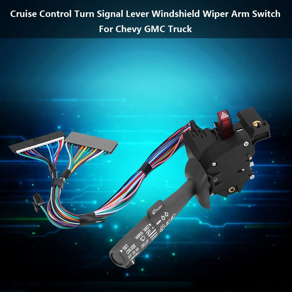 Qiilu Cruise Control Turn Signal Lever Windshield Wiper Arm Switch for Chevy GMC Truck
