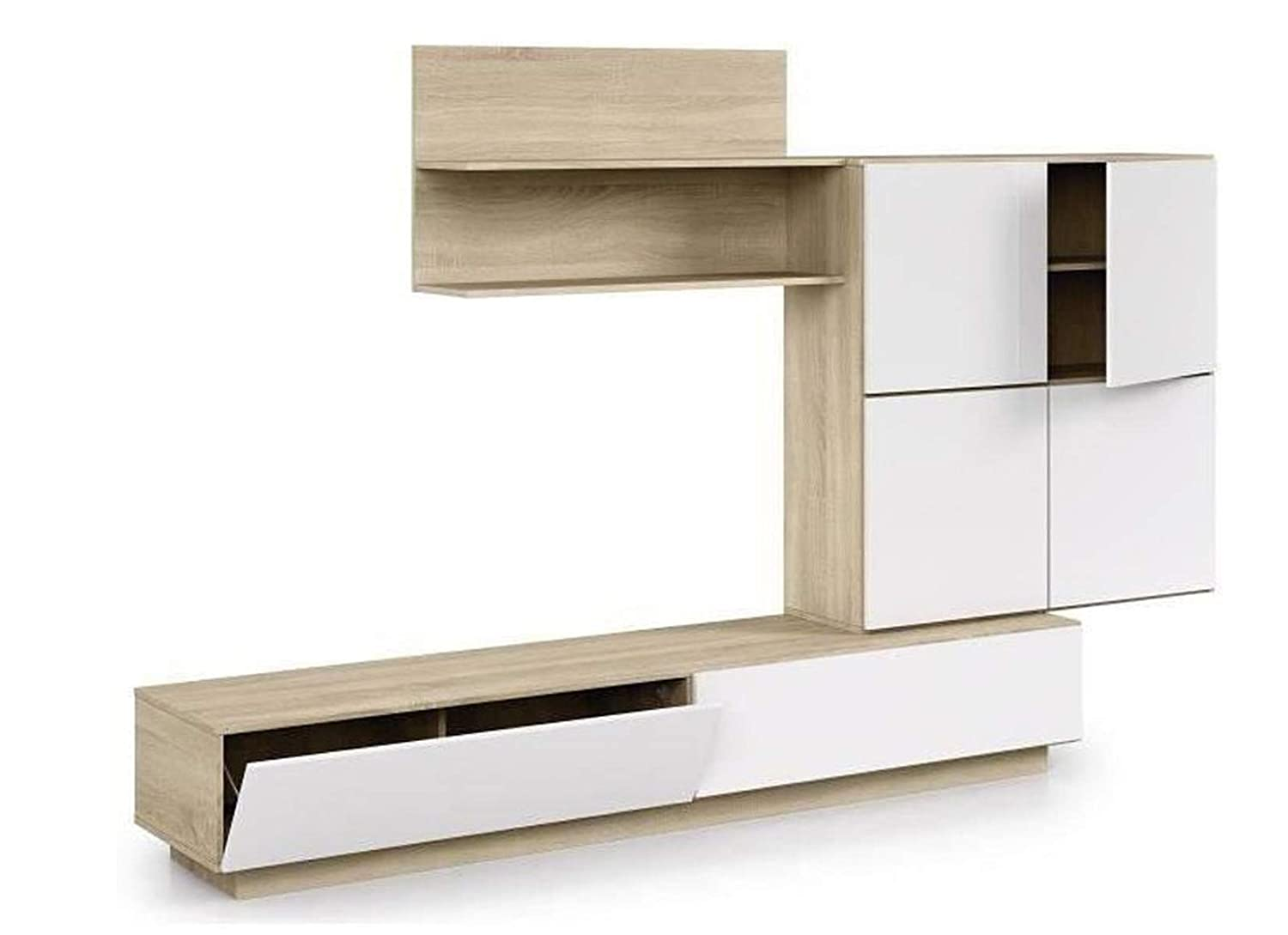 PEGANE - Mueble TV Negra Blanco y Roble Canadian - Dim: 157 x 250 ...