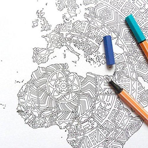 Cartel Grande del Colorante del Mapa del Mundo de la Mandala para ...