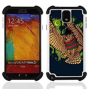 BullDog Case - FOR/Samsung Galaxy Note3 N9000 N9008V N9009 / - / Majestic Night Owl Attack /- H??brido Heavy Duty caja del tel??fono protector din??mico - silicona suave