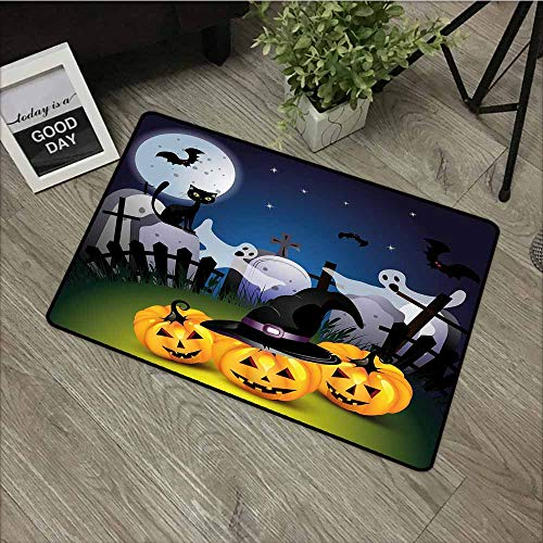 LOVEEO Bedroom Doormat,Halloween Funny Cartoon Design with Pumpkins Witches Hat Ghosts Graveyard Full Moon Cat,Machine-Washable/Non-Slip,20