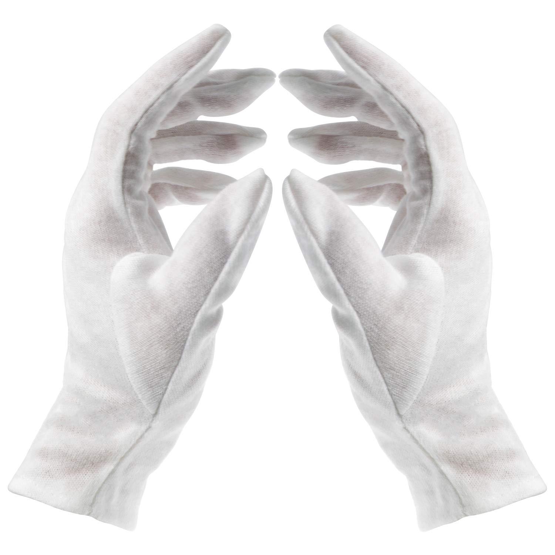 Waycreat 12 Pair White Cotton Gloves, Soft Work Gloves Hand Moisturizing Gloves for Jewelry Inspection Moisturizing