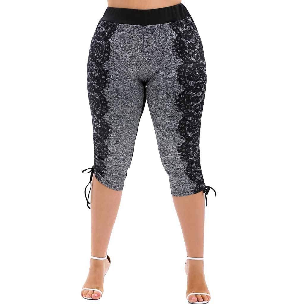 Yogahosen mit Spitze Kurze Damen Shorts Wellenpunkt Frauen Elastische Taille Boho Breites Bein Sommer Yoga Lockere Hose Hohe Taille Capris Sporthosen Gro/ße Gr/ö/ßen