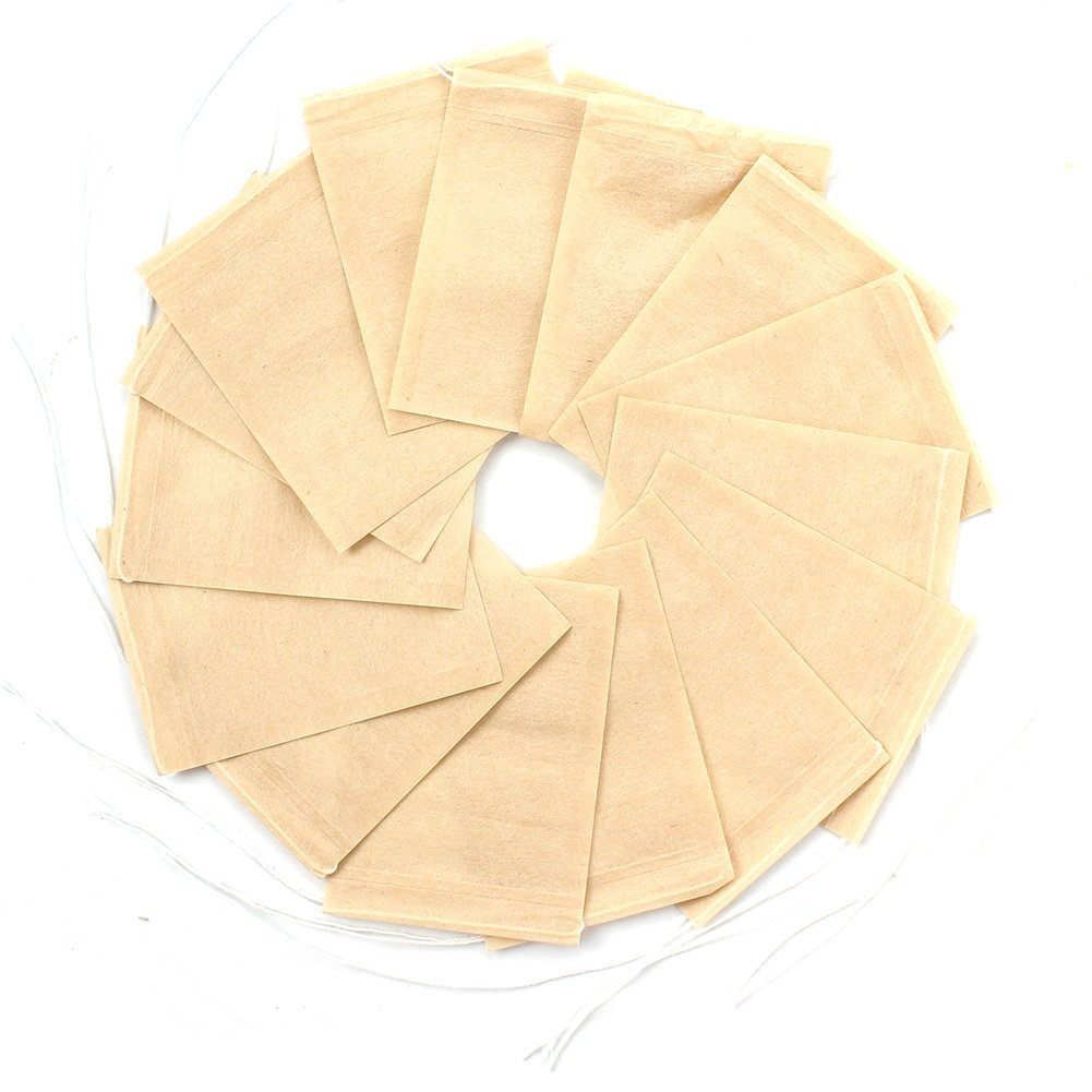 300PCS Tea Filter Bags Disposable Paper Tea Infuser with Drawstring for Loose Leaf Tea and Coffee with Natural Unbleached Paper (Small Size)