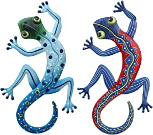 Gecko Wall Decoration, 2pcs Metal Gecko Outdoor Sculpture Craft Small Wall Decoration For for Outdoor Backyard Porch Home Patio Lawn Fence Decorations Wall Sculptures
