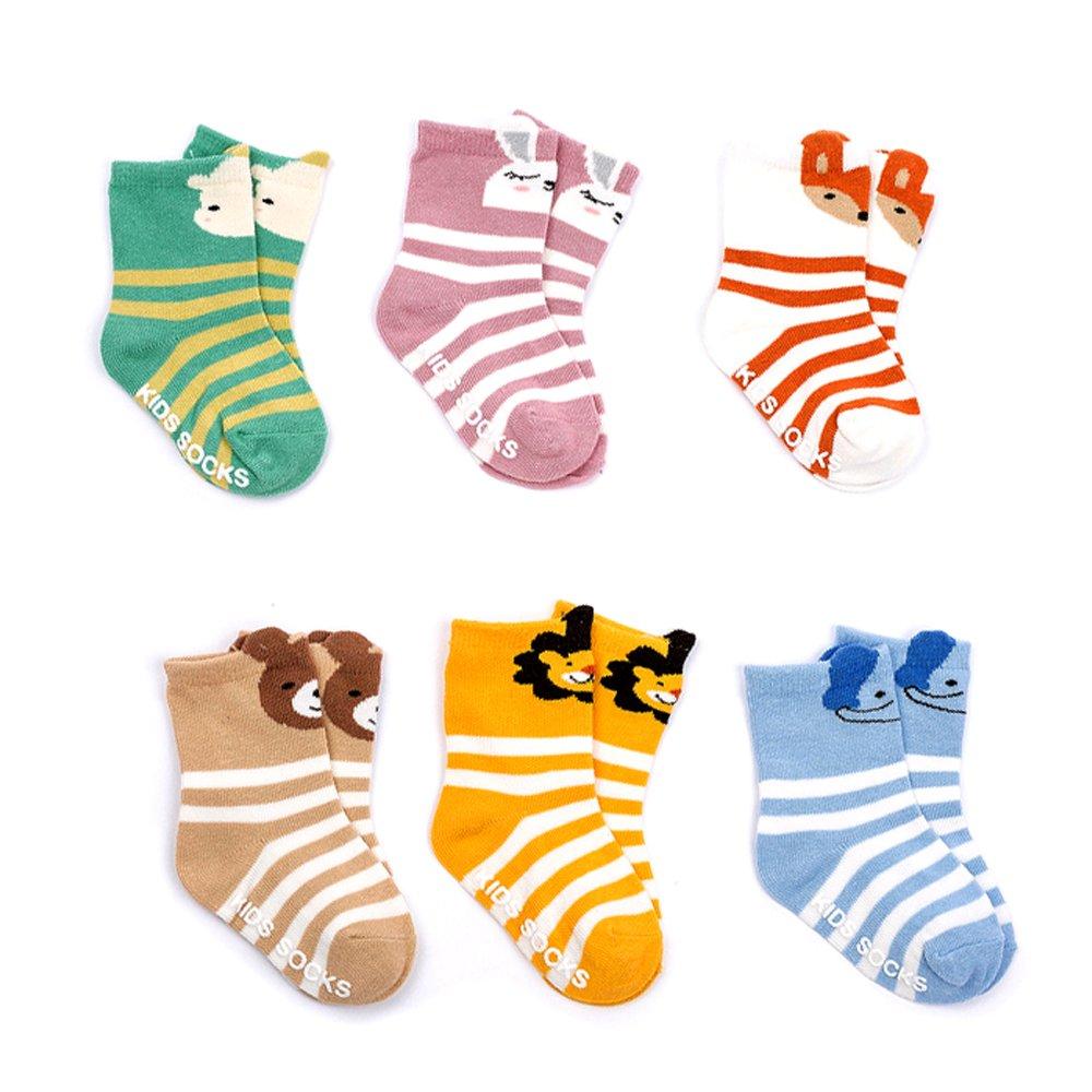 Eanny Baby Girls Boys Non-Skid Slip Socks Toddler Infant 3d Cartoon Animal Crew Socks 12-24 Months 6 Pairs
