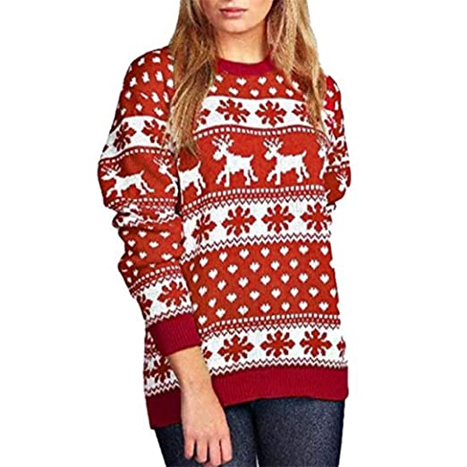 4fca2689b1 FRCOLT Womens Christmas Snow Reindeer Patterns Floral Dot Print Sweatshirt  Pullover at Amazon Women s Clothing store