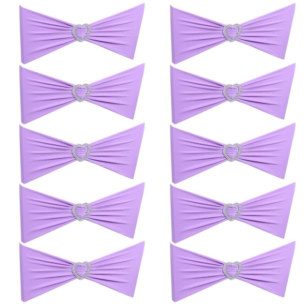 good01 10Pcs Spandex Chair Cover Sashes Bow Band Wedding Dining Banquet Decor
