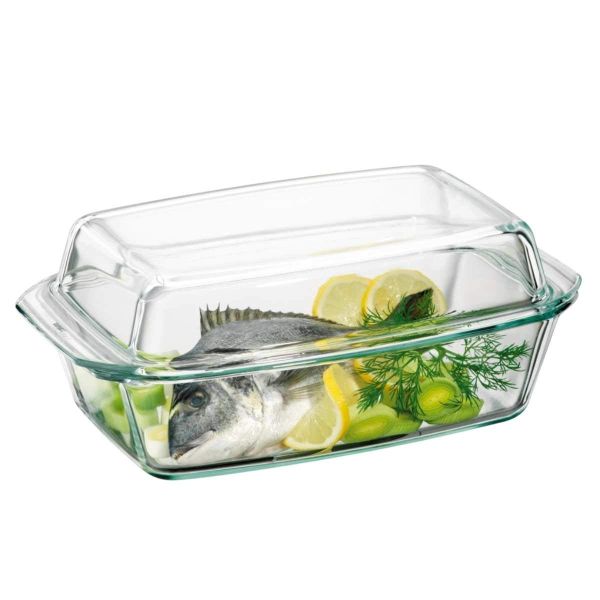 Clear Oblong Glass Casserole by Simax | With High Lid, Heat, Cold and Shock Proof, Made in Europe, 3 Quart