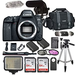 Canon EOS 6D Mark II Digital SLR Camera Bundle (Body Only) + Video Creator Accessory Bundle (14 items)