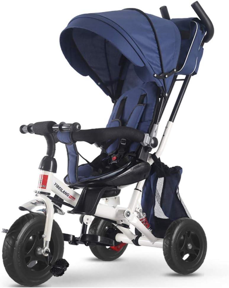 GIFT Kids Trike 2 En 1 Cochecito De Bebé Triciclo para Bebés con Rotación Y Reclinable Asiento De Dos Vías De Implementación,Blue
