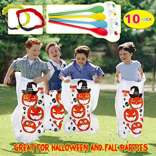 Halloween Potato Sack Race Bags,Halloween Egg and Spoon Race Game Set,Eyeballs and Spoons with Assorted Colors,Legged Relay Race Bands Elastic Tie Rope for Kids and Adults Halloween Outdoor Fun Games(10PACK)