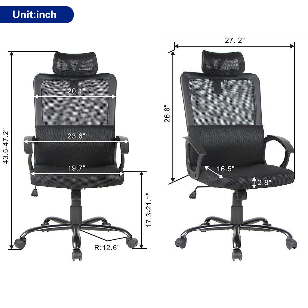 Smugdesk Ergonomic Office Chair High Back Mesh Office Chair Adjustable Headrest Computer Desk Chair for Lumbar Support by Smugdesk (Image #6)