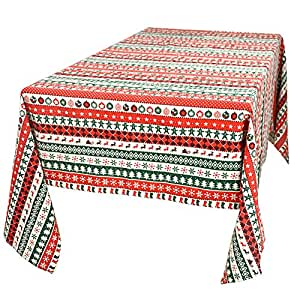 "Cotton Linen 53""x104"" Rectangle Red Green White Stripe Christmas Tablecloth Oblong Home Decorative"