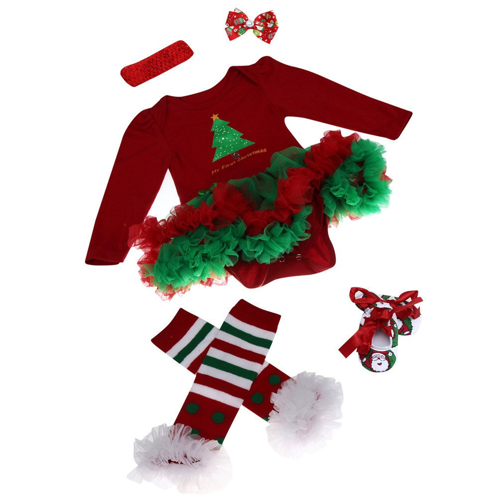 Amazon.com: G-real Baby Girls My First Christmas Santa Costume Party Dress 4PCS: Clothing