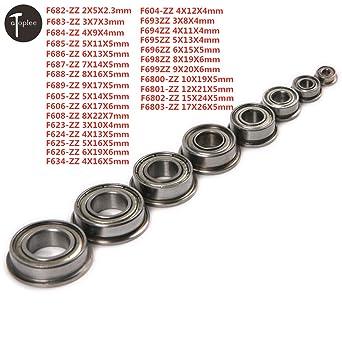 10 Bearings 9mm x 17mm x 5mm Flanged Ball Bearing Pack