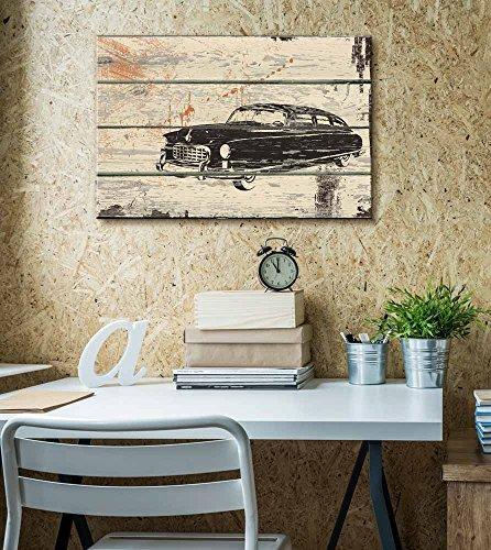 Retro Car Print White Wall Tires Artwork Rustic