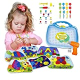Kidtastic Building Board Drill Set (203 pcs) STEM Toys for 4 Years Old, Screw Puzzle Peg with Real Drill, Tinker Toys for Boys & Girls – Build, Tweak & Tinker – 3D Puzzle Toy & Toddler Peg Board Set