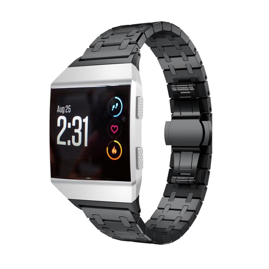 zzsyuソリッドステンレススチールアクセサリー時計バンドストラップメタルバンドfor Fitbit Ionic  ブラック B076MCLZHG