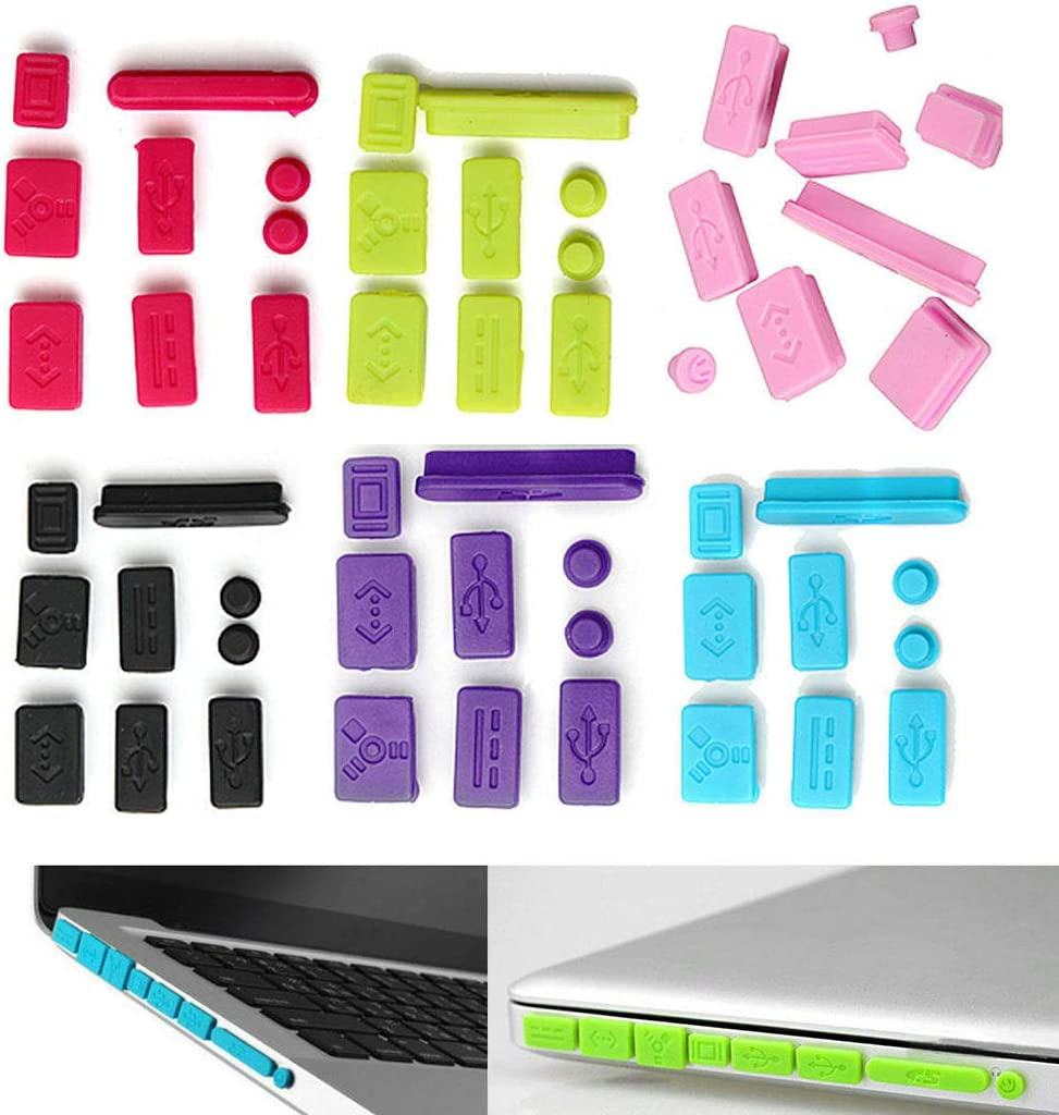 Cover Set 9pcs Protector Silicone Anti Dust Plug Ports Replacement for MacBook Pro Accessory (Purple)