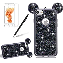 Girlyard For iPhone 7 PLUS Bling Diamond Silicone Case Cover Shiny Crystal Rhinestone Mouse Ears Soft TPU Protective Case 3D Novelty Design Ultra Slim Plating Frame Back Cover Black