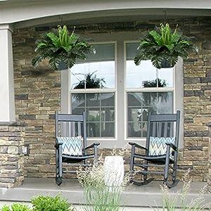 HO2NLE 2PCS Artificial Boston Ferns Shrubs Silk Fake Greenery Plants Home Garden Wedding Patio Outdoor Balcony Hanging Pot Decor 3