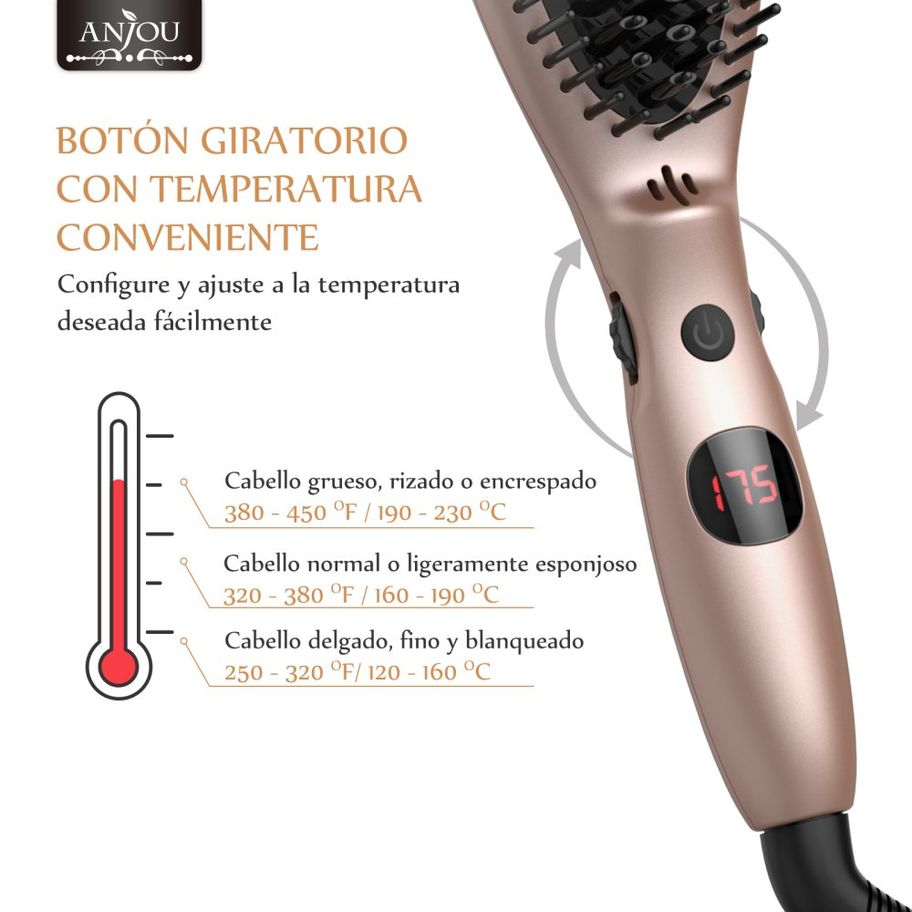 Cepillo Alisador Iónico para Cabello Anjou, Peine MCH (Perilla de Rotación para Control de Temperatura, Maximo 230 ℃ para Todos Los Tipos de Cabello, ...
