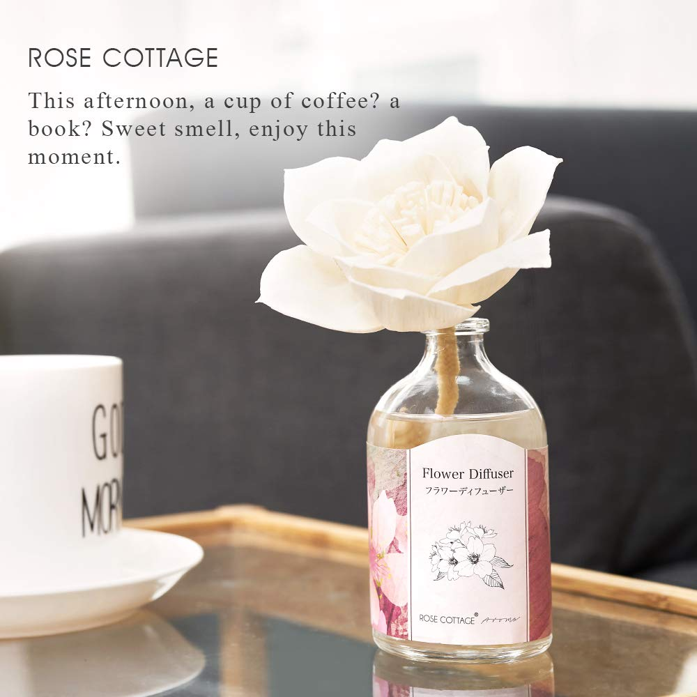 Rose Cottage Reed Diffuser Set Lavender Scented Sticks Oil Diffuser Room Fragrance for Bedroom Living Room Office 100ML/3.4Oz. by Rose Cottage (Image #5)
