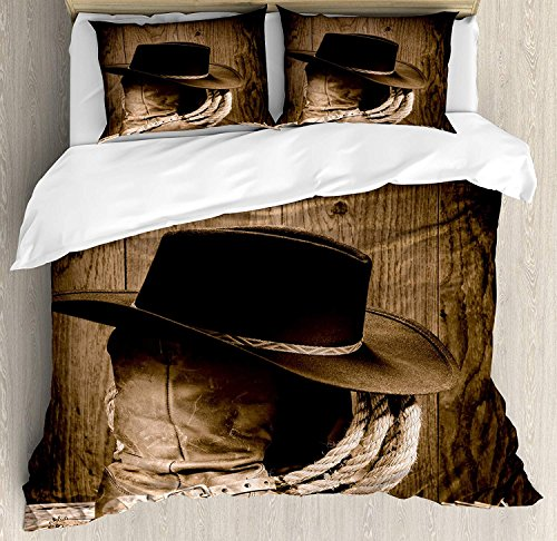 Anzona Queen Size Western 3 PCS Duvet Cover Set, Wild West Themed Cowboy Hat and Old Ranching Rope On Wooden Display Rodeo Cowboy Style, Bedding Set Bedspread for Children/Teens/Adults/Kids, Brown ()