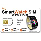 SpeedTalk Mobile Smart Watch SIM Card for 4G LTE GSM Smartwatches and Wearables - 30 Day Service - USA Canada Mexico…