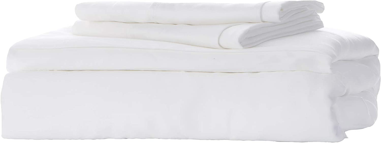 KicKee Home Sateen Weave Sheet Set, 100% Viscose from Bamboo, Silky Soft Bedding for Heavenly Comfort, Best 300 Thread Count (CA King, White)