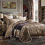 CASA Sateen Jacquard Bedding series 325 thread count Duvet cover & Pillow cases & Flat sheet,Duvet cover set,Super Soft,4 Pieces,King