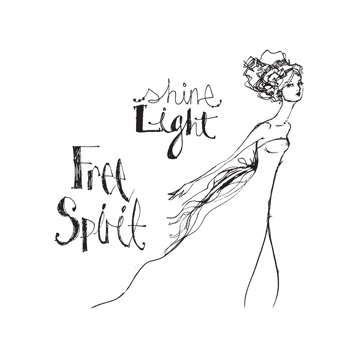 Spellbinders JDS-017 Free Spirit from Artomology by Jane Davenport Clear Stamp Set,