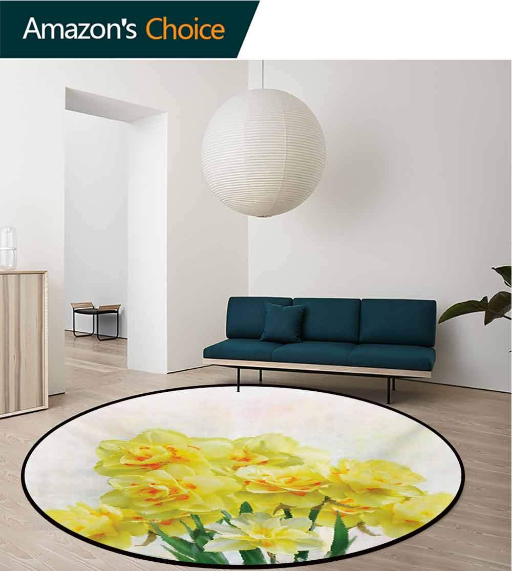 RUGSMAT Daffodil Round Rug Kid Carpet,Digital Watercolors Paint of Daffodils Bouquet Called Jonquils in England Lily Home Decor Foor Carpet,Diameter-39 Inch Yellow Green