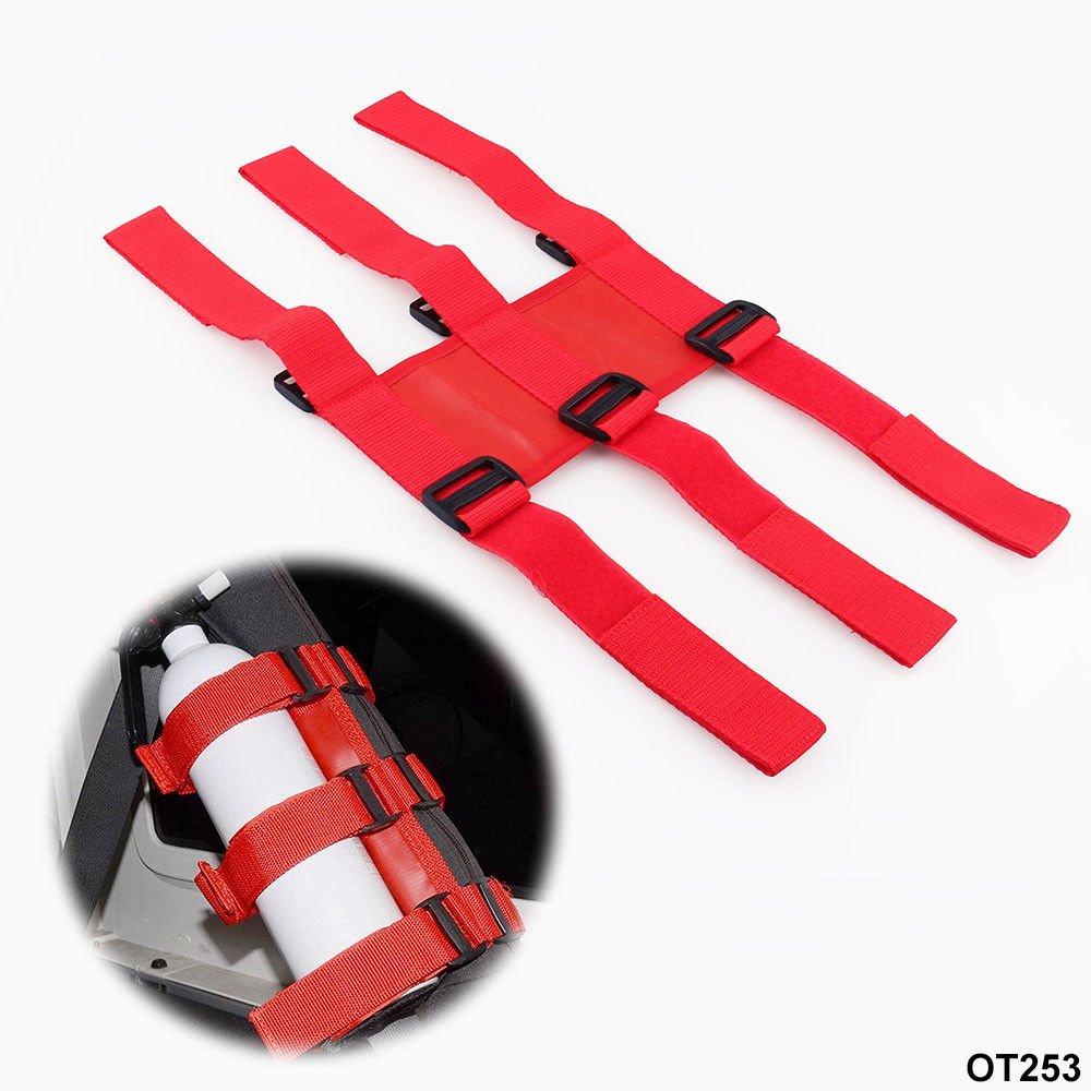 FidgetFidget Fire Extinguisher Holder Adjustable Roll Bar For Jeep Wrangler TJ YJ JK CJ Red