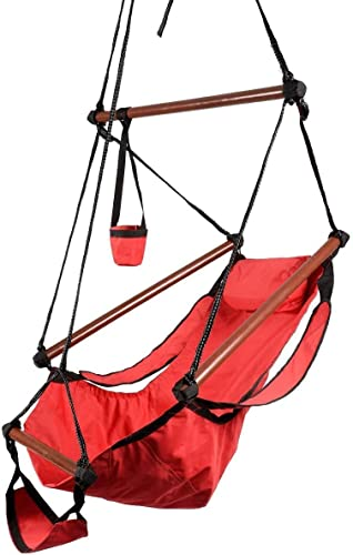 HPD Hammock Hanging Chair Air Deluxe Sky Swing Chair Solid Wood 250lb Outdoor Indoor Red