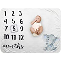 Baby Monthly Milestone Blanket - Organic Plush Fleece Photography Background Prop for Boy Girl Newborn Soft Elephant…