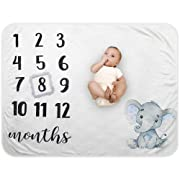 Baby Monthly Milestone Blanket - Organic Plush Fleece Photography Background Prop for Boy Girl Newborn Baby Shower Gift Soft Elephant Blanket with Frame Large 47''x40''