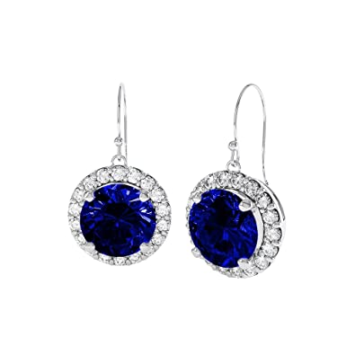 Stardust 2.7ct Sapphire and Diamond Halo Silver Stud Earrings (WHITE GOLD) ygcVi